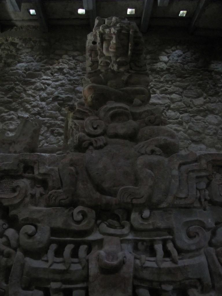 A stucco frieze found inside the pyramid at Balanku