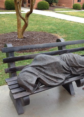 Homeless Jesus, sculpture by Timothy Schmalz, Ontario