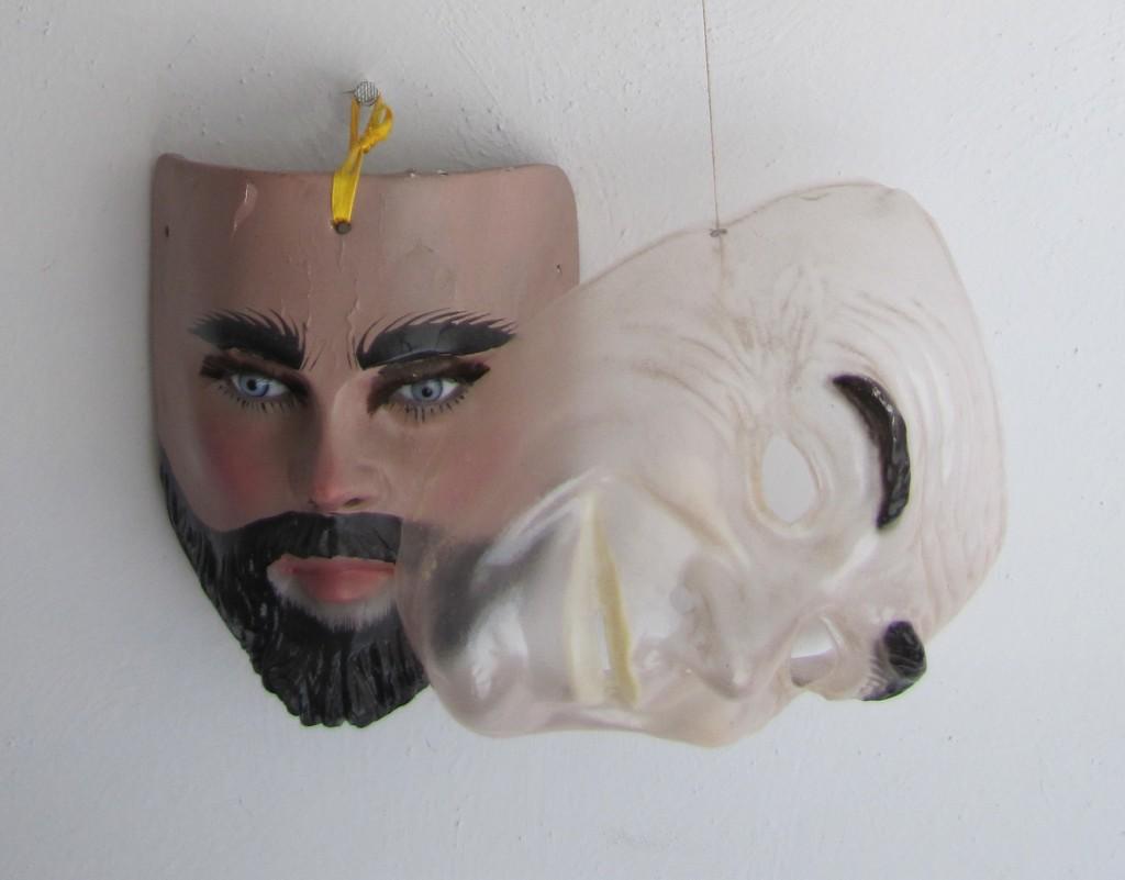 Parachico mask with plastic false face addition
