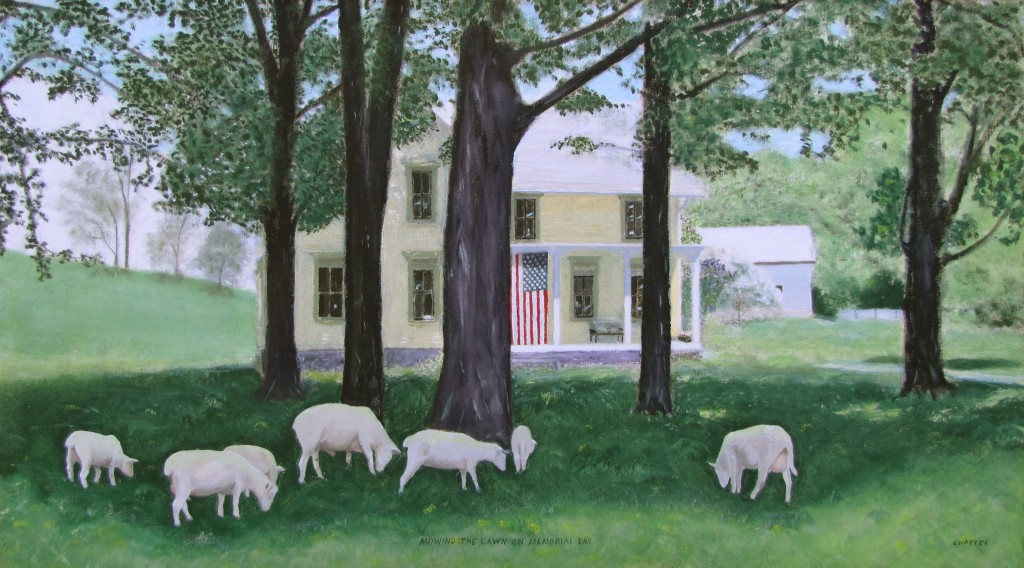 """Mowing the Lawn on Memorial Day"" oil on canvas, painted from my photo, 1996. Eric Chaffee, Alden NY. Landmark Prize, Alden Art Society show, Sept 1997."