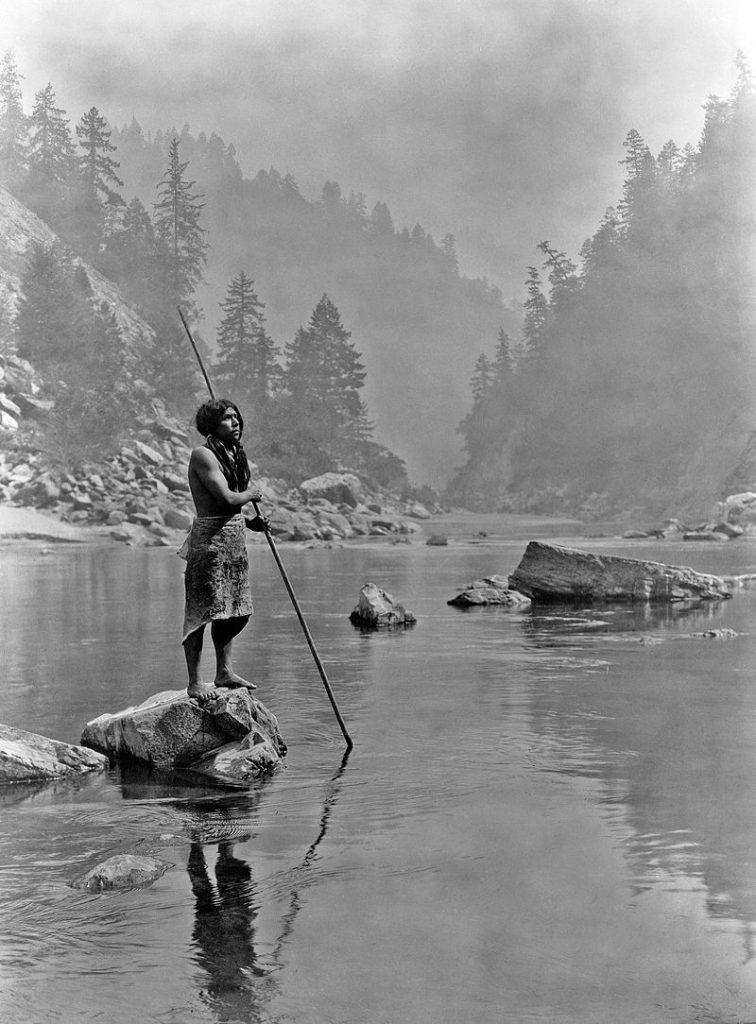 Hupa fisherman. Photo by Edward Curtis, 1923, via wikimedia